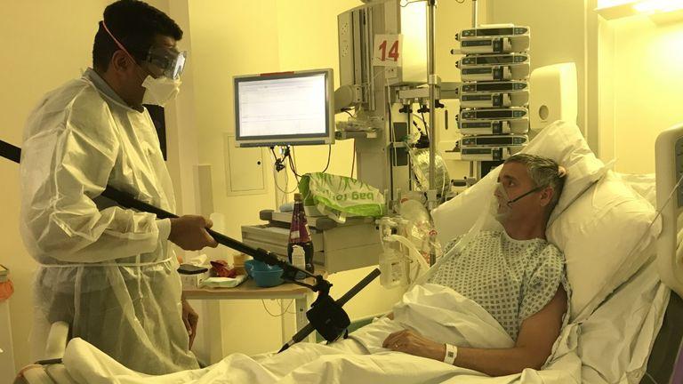 Coronavirus patient Tom Skingle spoke to Sky's Ashish Joshi