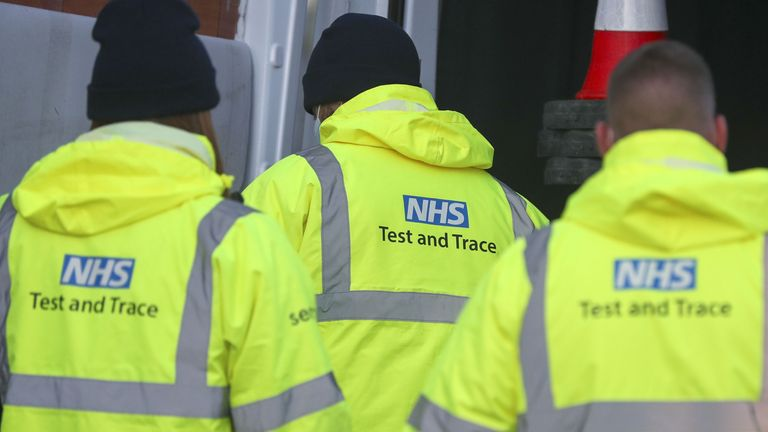 NHS Test and Trace staff set up at the Liverpool Tennis Centre in Wavertree