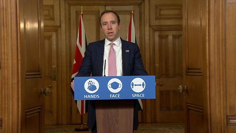 Health Secretary Matt Hancock leads to government's coronavirus press briefing and Downing St