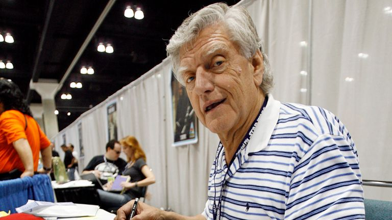 Prowse signing autographs during the opening day of Star Wars Celebration IV in Los Angeles in May 2007