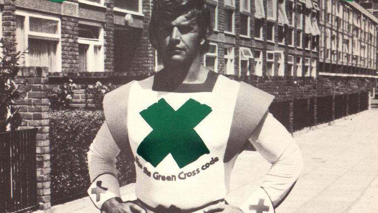 Prowse in 1977 as the Green Cross Code Man road safety campaign aimed at children