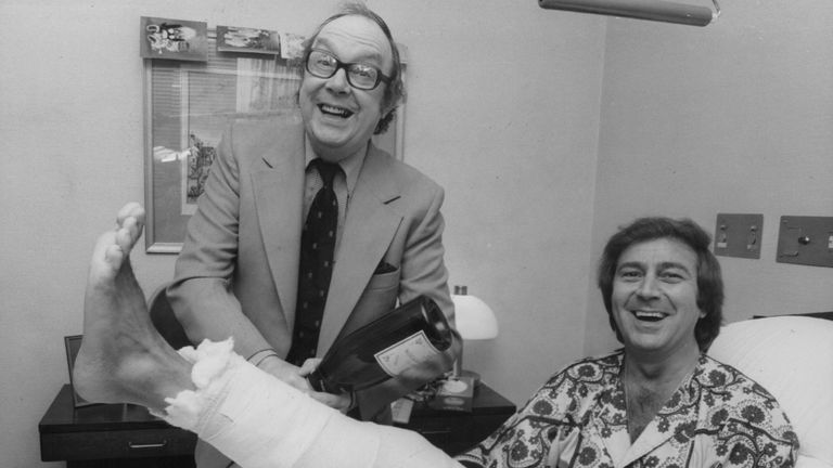 O'Connor is visited in hospital by Eric Morecambe after breaking his leg