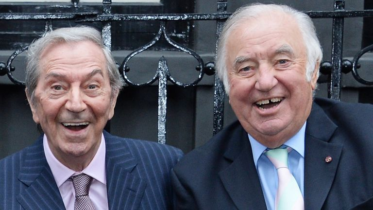 Des O'Connor and Jimmy Tarbuck outside The London Palladium in 2018