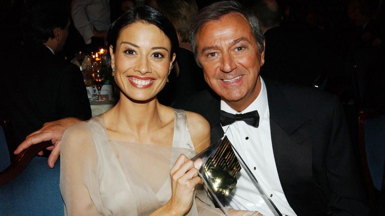 "TV presenters Melanie Sykes and Des O'Connor at the Royal Television Society Programme Awards 2002 at the Grosvenor House Hotel, London on March 18, 2003. They present ""Today With Des and Mel"" which won an award for the best Daytime Programme"