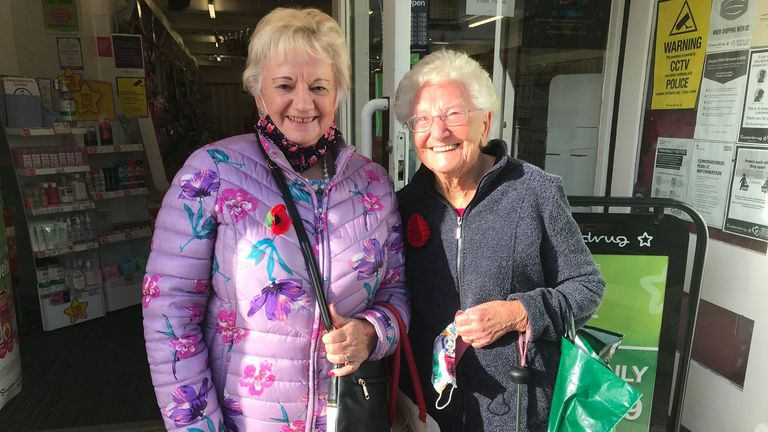Diane Evans (left) and Joan Gwatkin shopping in Monmouth