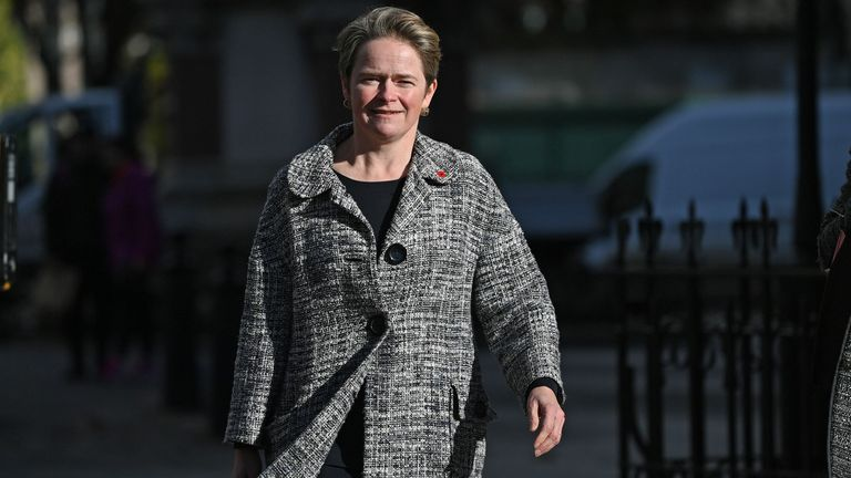 Head of the NHS Test and Trace, Dido Harding is seen walking in Westminster after giving evidence to the Health and Social Care Committee and Science and Technology Committee in central London on November 10, 2020
