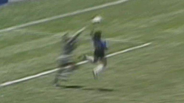 Diego Maradona scores controversial goal against England in 1986