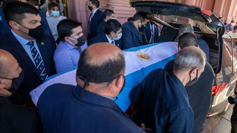 Diego Maradona's funeral is taking place in Buenos Aires. Pic: Argentina Presidency