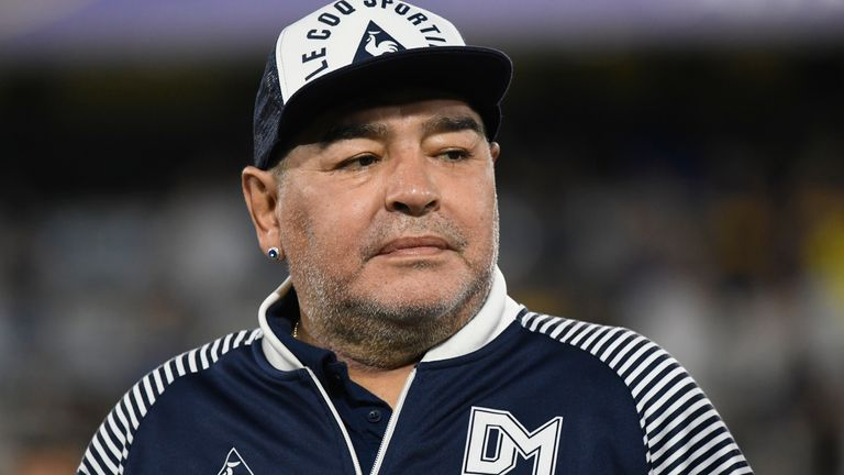 Maradona at a match in March