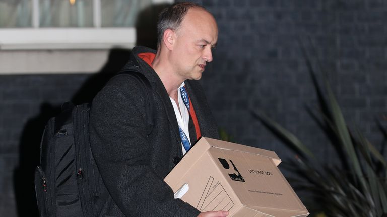 Prime Minister Boris Johnson's top aide Dominic Cummings leaves 10 Downing Street, London, with a box, following reports that he is set to leave his position by the end of the year.