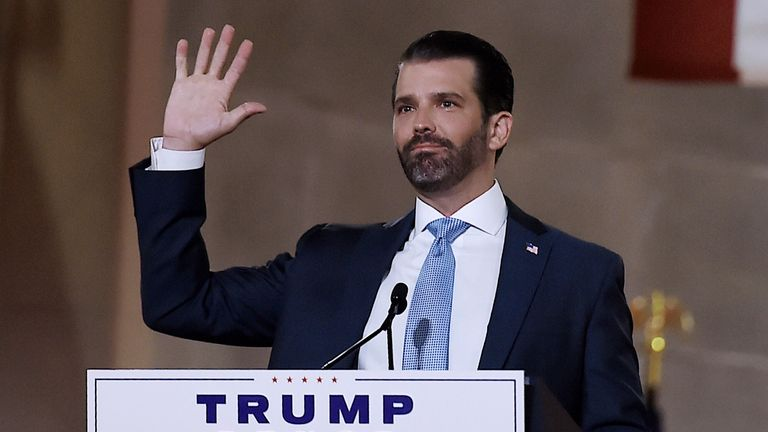 Donald Trump Jr. speaks during the first day of the Republican convention at the Mellon auditorium on August 24, 2020 in Washington, DC