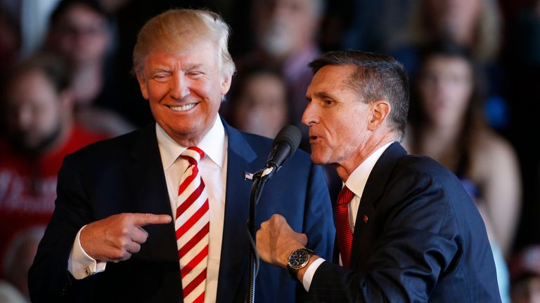 Donald Trump and retired General Michael Flynn during the 2016 election campaign