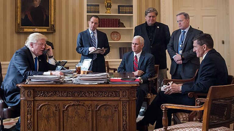 January 2017: Mr Trump in the Oval Office with Chief of Staff Reince Priebus, Vice President Mike Pence, White House Chief Strategist Steve Bannon, Press Secretary Sean Spicer and National Security Advisor Michael Flynn