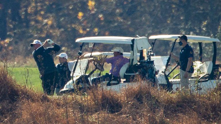 Donald Trump playing golf in Virginia on Saturday