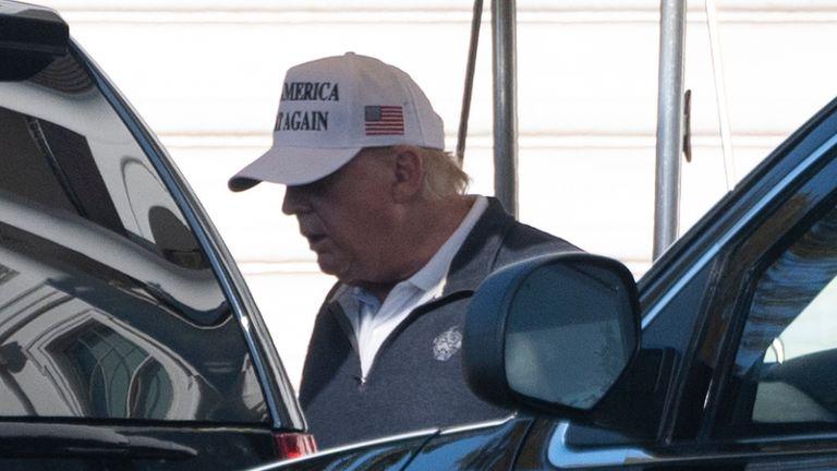 Donald Trump leaving the White House on Sunday November 8