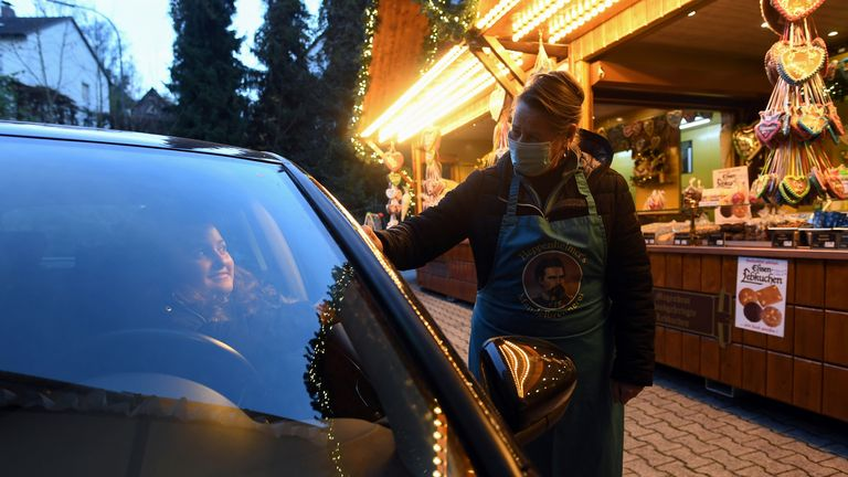 A drive-through Christmas market in Landshut, Germany
