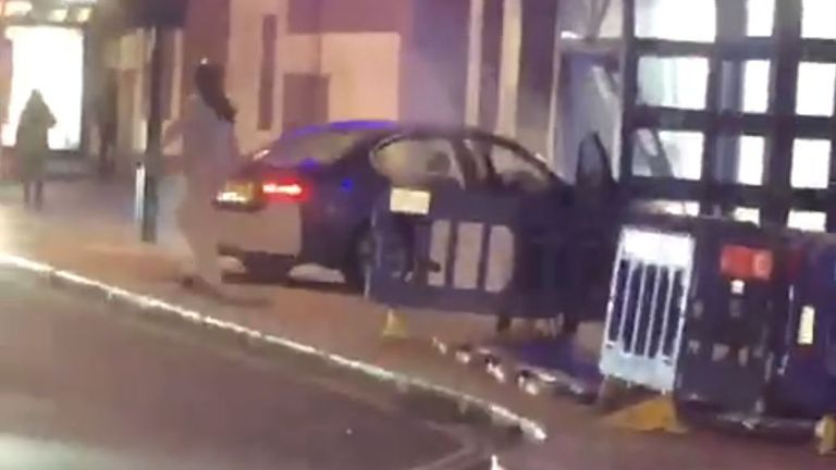 A man left his vehicle after crashing into a police station in north London