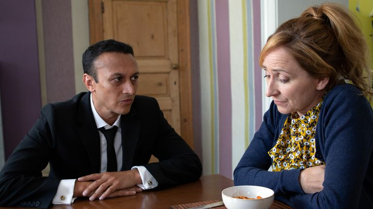 Laurel Thomas (Charlotte Bellamy) and her on-screen partner Jai Sharma, played by Chris Bisson, in Emmerdale. Pic: ITV/Shutterstock