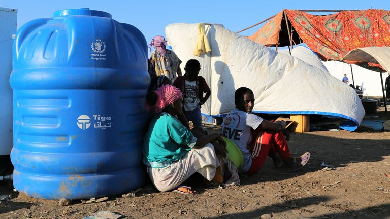 Refugees who fled the conflict in Ethiopia's Tigray region at the Hamdayet Reception Centre, in the border town of Hamdayet, Sudan. Pic: Leni Kinzli/EPA-EFE/Shutterstock