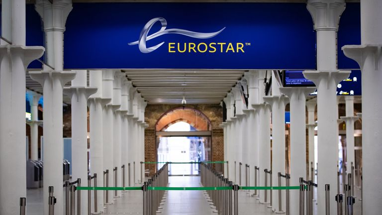The Eurostar terminal at St Pancras International Station, London.