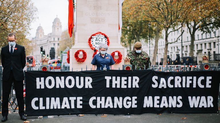 Extinction Rebellion's protest at the Cenotaph in London on Remembrance Day