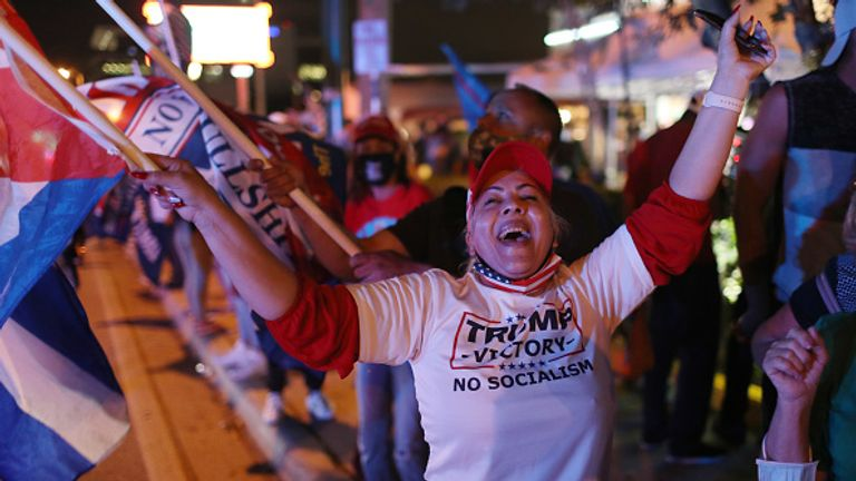 There was dancing on the streets of Miami when Donald Trump overtook Joe Biden for the swing state