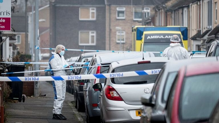 Forensic experts at the scene of the incident in Swindon. Pic: Daniel Jae Webb