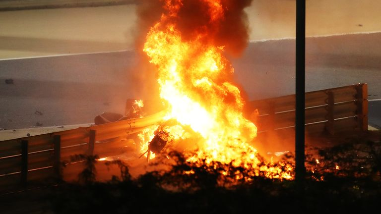 A fire is pictured following the crash of Romain Grosjean of France
