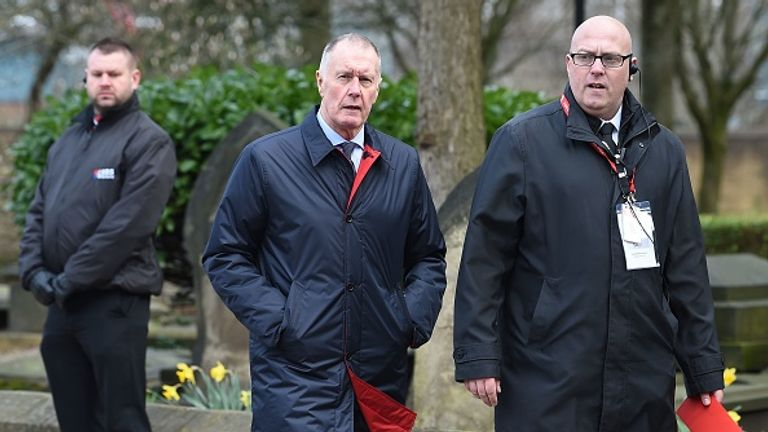 Geoff Hurst is pictured (C) at goalkeeper Gordon Banks's funeral in 2019