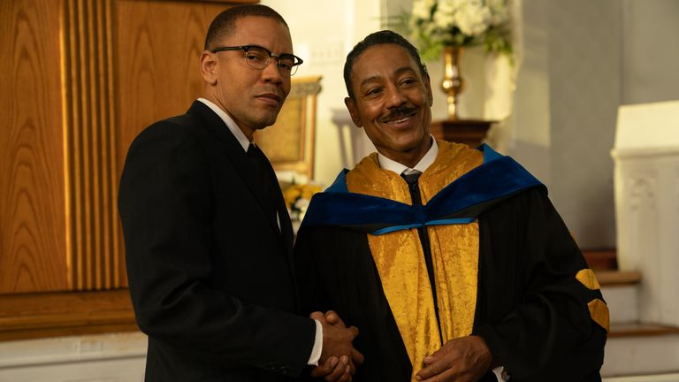 Nigel Thatch (R) plays activist and minister Malcolm X. Pic: Disney/ABC