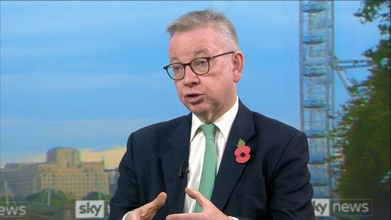 Michael Gove faces questions over second lockdown in England and says if the data supports an extension it could happen.