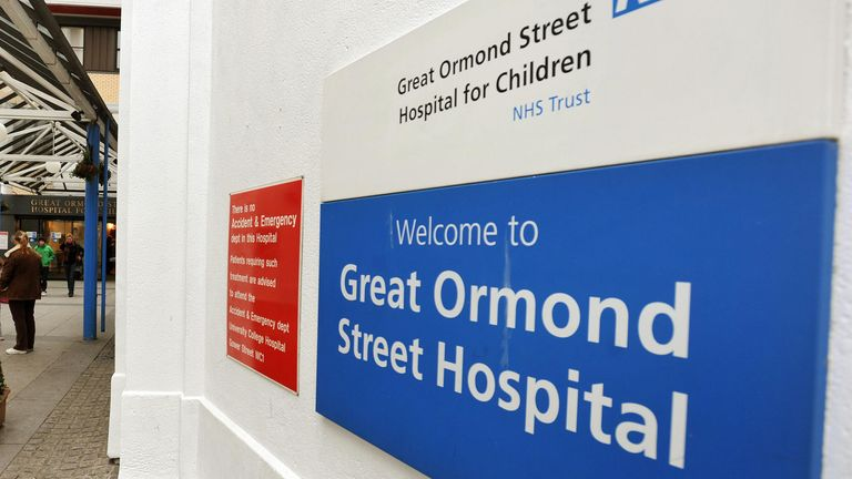 The main entrance to the Great Ormond Street hospital for children in central London.