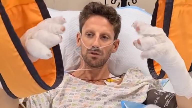 Romain Grosjean speaks from his hospital bed following Sunday's crash