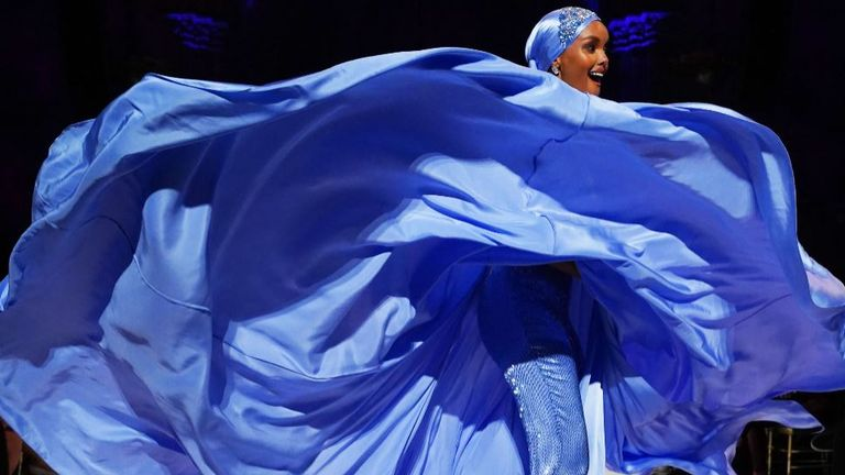 Halima Aden walks the runway during the Sherri Hill NYFW Spring 2020 runway show