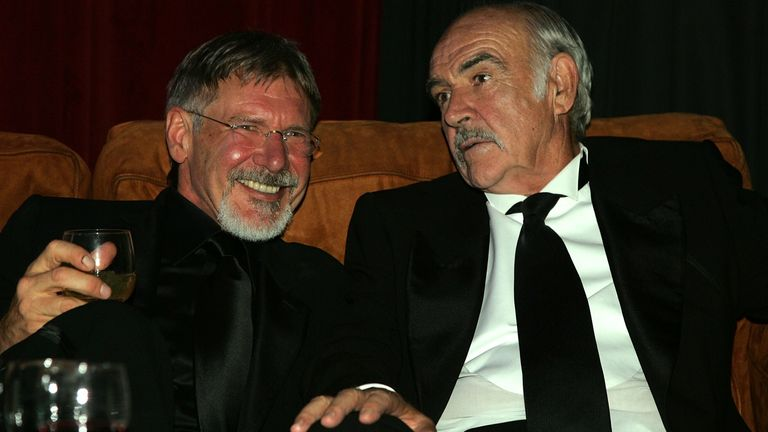 Harrison Ford and Sean Connery attend the after party for the 34th AFI Life Achievement Award tribute to Sir Sean Connery held at the Kodak Theatre on June 8, 2006 in Hollywood, California