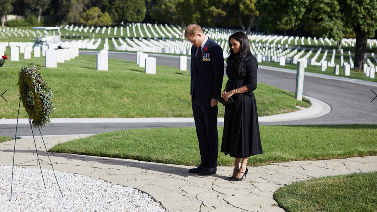 Duke and Duchess of Sussex pay their respects at the Los Angeles National Cemetery on Remembrance Sunday. Pic: Lee Morgan