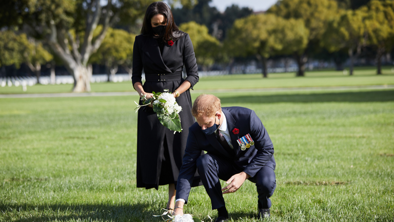 Duke and Duchess of Sussex pay their respects at the Los Angeles National Cemetery on Remembrance Sunday. MANDATORY CREDIT: Lee Morgan