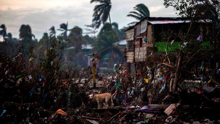 Homes already destroyed by Hurricane Eta, in Bilwi, Puerto Cabezas, Nicaragua