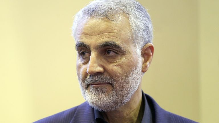 In this picture taken on September 14, 2013, the commander of the Iranian Revolutionary Guard's Quds Force, Gen. Qassem Soleimani, is seen as people pay their condolences following the death of his mother in Tehran.