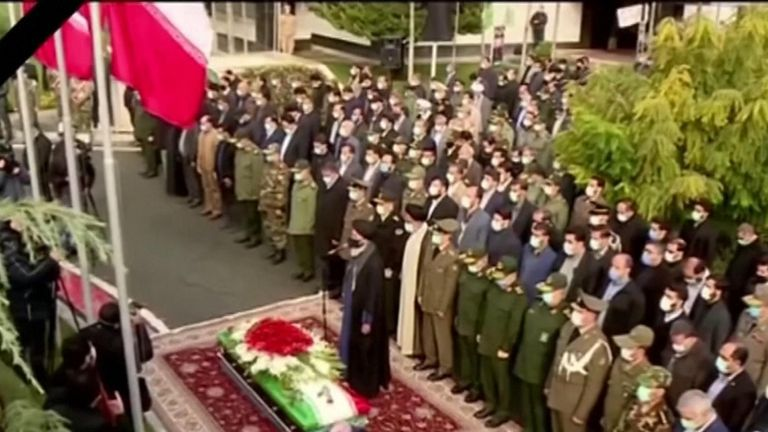 Iran began the burial of Mohsen Fakhrizadeh in a cemetery in northern Tehran, who was shot by a remote-controlled machine gun.