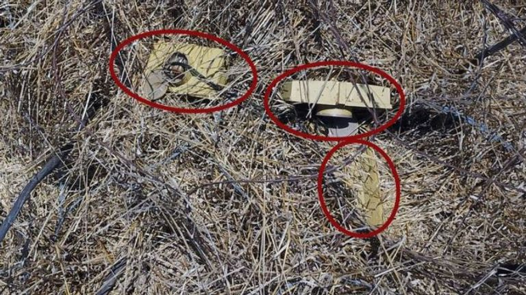 Israeli Defence Force issued this photo saying three claymore anti-personnel mines were discovered on the Israeli side of the Syria-Israeli border