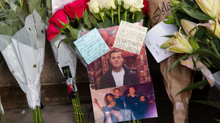 Photograph and a goodbye note left by friends of London Bridge terror attack victim,�Jack Merritt at�London Bridge, England, December 1, 2019. Two persons were killed and a number injured in the attack. (Photo by Michal Busko/Sipa USA)