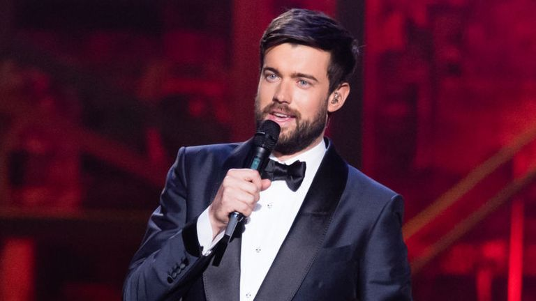 LONDON, ENGLAND - FEBRUARY 18: (EDITORIAL USE ONLY) Jack Whitehall presents The BRIT Awards 2020 at The O2 Arena on February 18, 2020 in London, England. (Photo by Samir Hussein/WireImage)