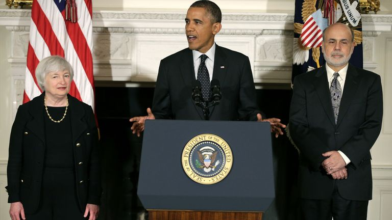 Yellen was nominated to head the Federal Reserve by President Obama in 2013, later succeeding Ben Bernanke (r) in the post