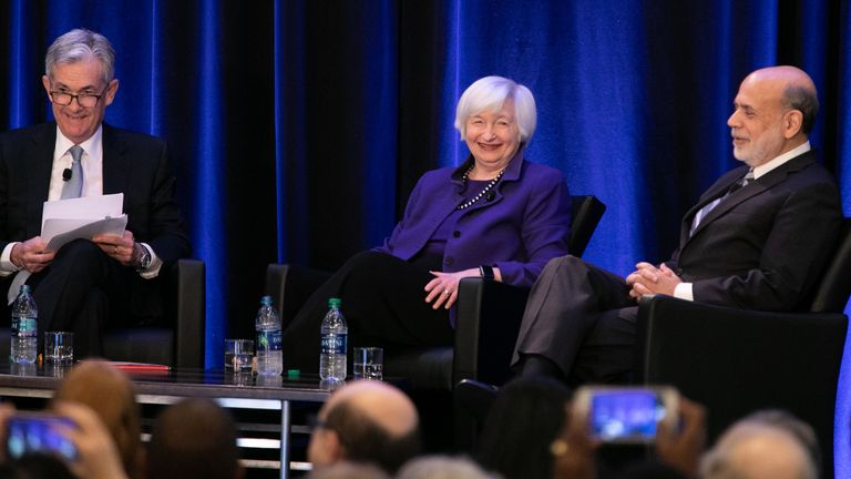 Janet Yellen is pictured in a panel discussion in 2019 with current Fed chair Jay Powell (l) and fellow former chair Ben Bernanke