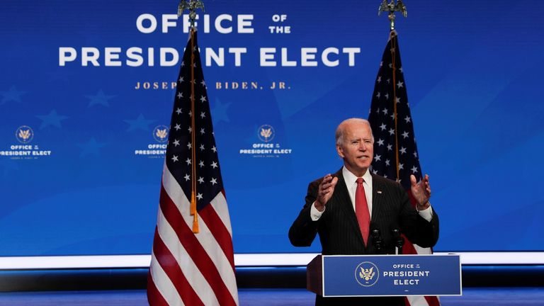 US President-elect Joe Biden speaks to reporters after an online meeting with members of the executive committee of the National Governors Association (NGA) in Wilmington, Delaware, on November 19, 2020.
