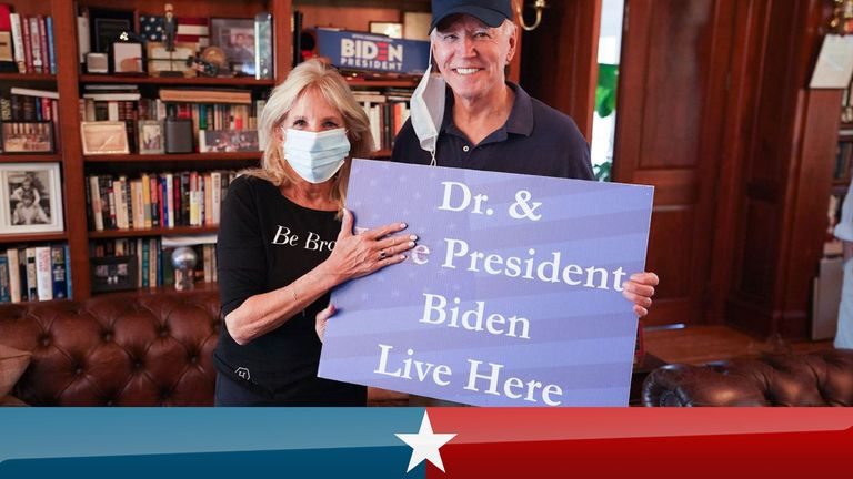 An image tweeted by Mr Biden's wife Jill after his victory. Pic: Twitter/@DrBiden