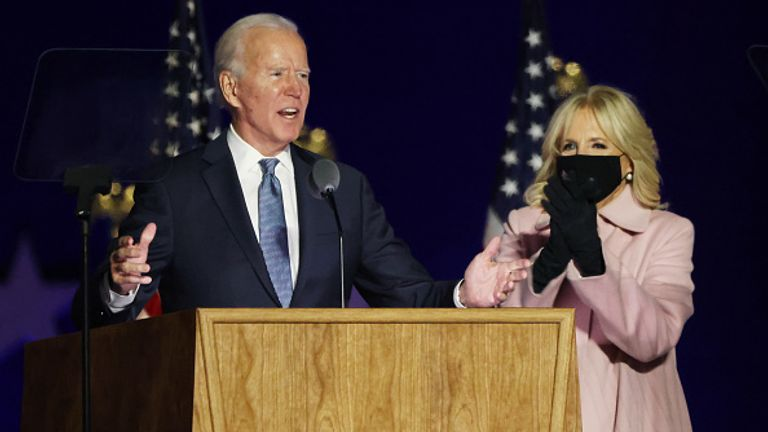 Joe Biden addressed supporters in Wilmington, Delaware