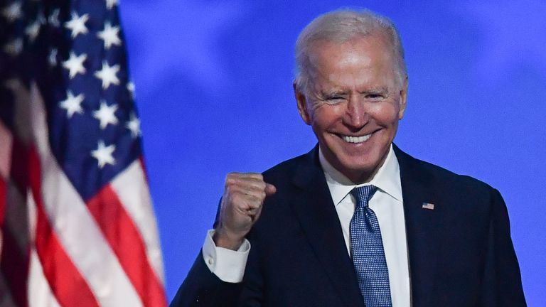 "TOPSHOT - Democratic presidential nominee Joe Biden gestures after speaking during election night at the Chase Center in Wilmington, Delaware, early on November 4, 2020. - Democrat Joe Biden said early Wednesday he believes he is ""on track"" to defeating US President Donald Trump, and called for Americans to have patience with vote-counting as several swing states remain up in the air. ""We believe we are on track to win this election,"" Biden told supporters in nationally broadcast remarks deliver"