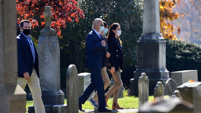 Joe Biden arriving at church in Wilmington, Delaware